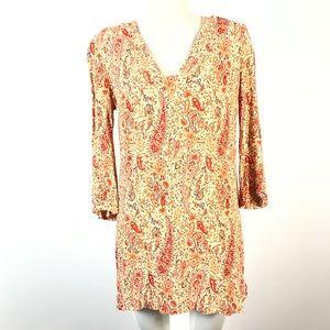 Zara Tunic Paisley Top 3/4 Sleeve Orange Floral